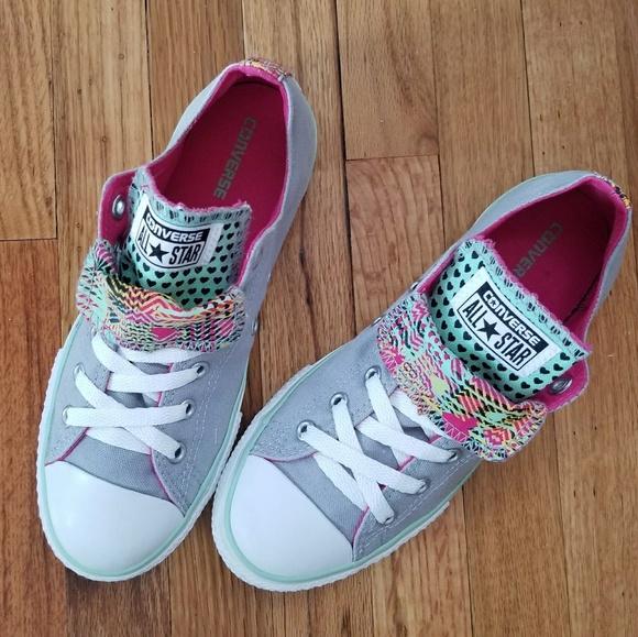 ccfc6ba43e0884 Converse Shoes - Converse Gray Double Tongue Low Top Sneakers